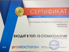Первое место в рейтинге стоматологий Нижнего Новгорода